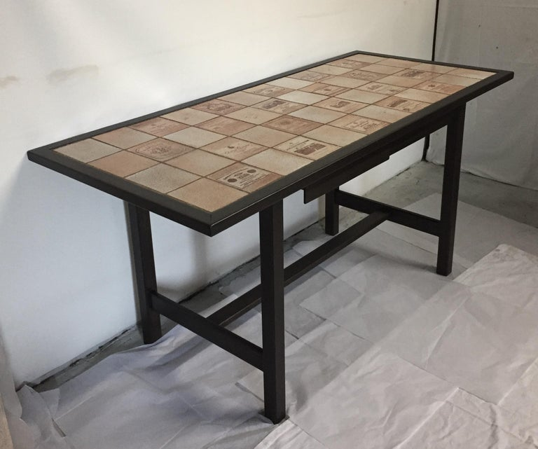 Ceramic and Wood Dining Table by Roger Capron Signed on a Tile For Sale 10