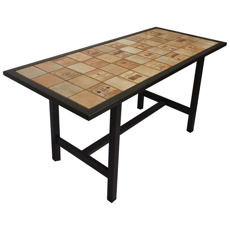 Ceramic and Wood Dining Table by Roger Capron Signed on a Tile For Sale