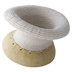 Ceramic and Woven Cotton Vessel in White and Natural