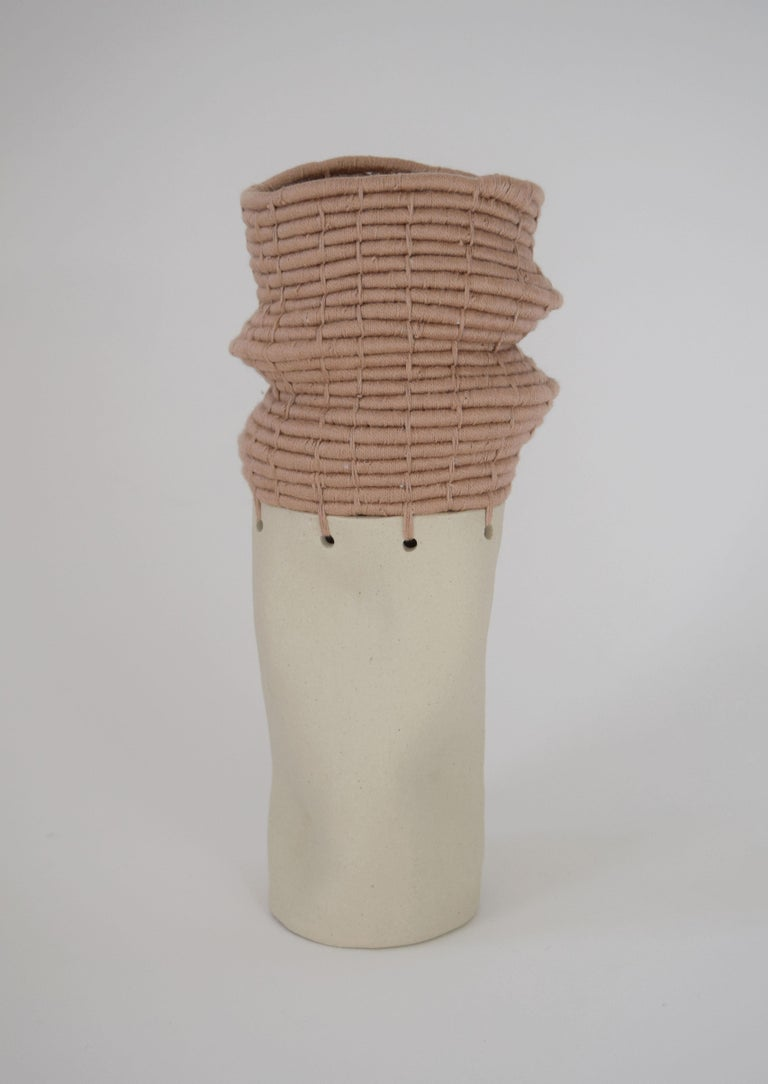 North American Ceramic and Woven Cotton Vessel in White and Tan For Sale