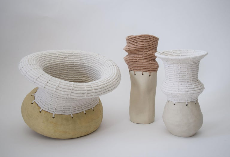 Ceramic and Woven Cotton Vessel in White and Tan For Sale 1