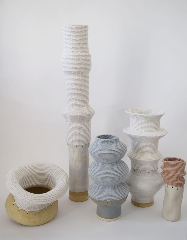 Ceramic and Woven Cotton Vessel in White and Tan For Sale 2
