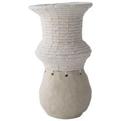 Ceramic and Woven Cotton Vessel in White
