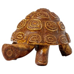 Ceramic Animal Sculpture Turtle by Accolay circa 1960 Orange Glaze Color
