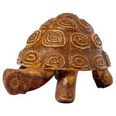Ceramic Animal Sculpture Turtle by Accolay circa 1960 Orange Glaze Color
