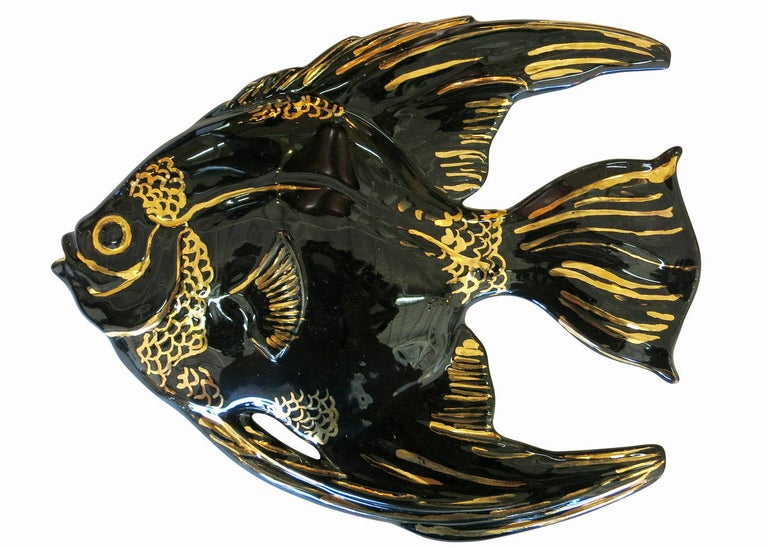 Ceramic Aquatic Angelfish Wall Art Set In Excellent Condition For Sale In Van Nuys, CA