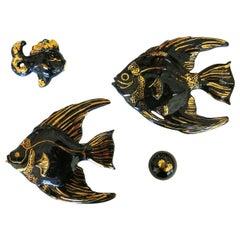 Ceramic Aquatic Angelfish Wall Art Set