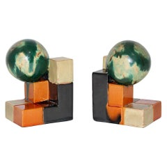 Ceramic Art Deco Bauhaus Attributed Vintage Bookends Green Orange, 1920, Germany