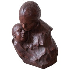 Ceramic Art Deco Buste Mother and Child by Belgium Artist G.Wasterlain