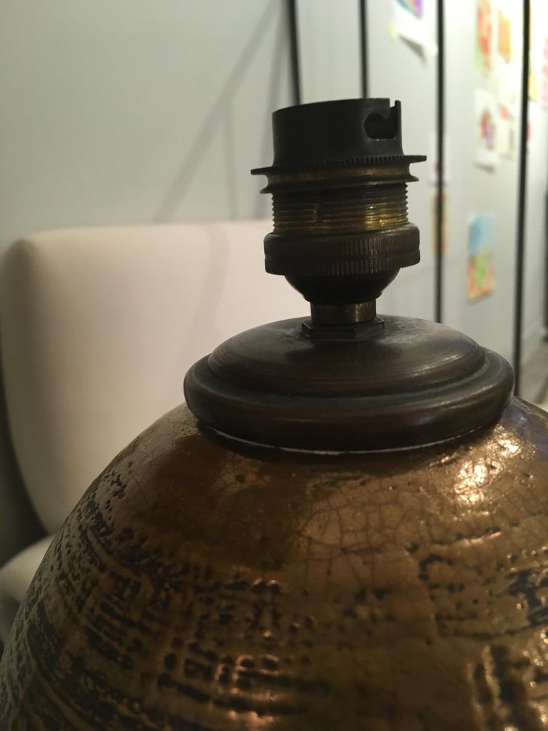 French Ceramic Art Deco Kaza Table Lamp For Sale