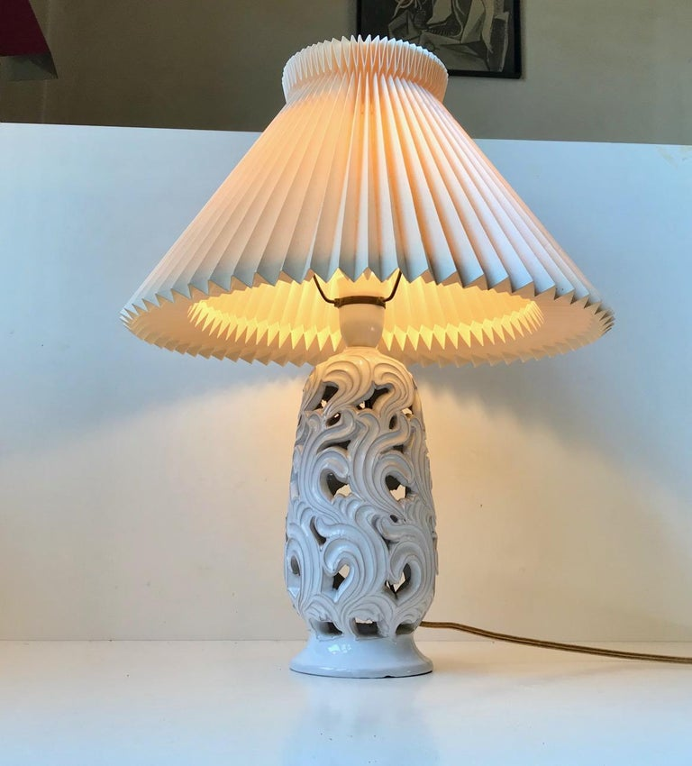 Ceramic Art Deco Table Lamp with Flames by Christian Klein, 1930s In Good Condition For Sale In Esbjerg, DK