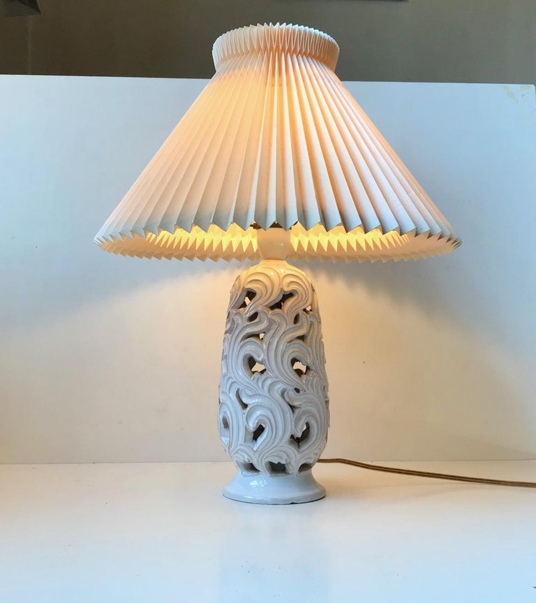 Mid-20th Century Ceramic Art Deco Table Lamp with Flames by Christian Klein, 1930s For Sale