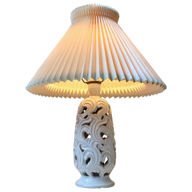 Ceramic Art Deco Table Lamp with Flames by Christian Klein, 1930s For Sale