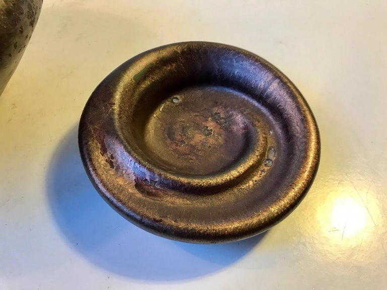 Danish Ceramic Art Deco Vase & Dish in Copper Glaze from Kongstrand, 1930s For Sale