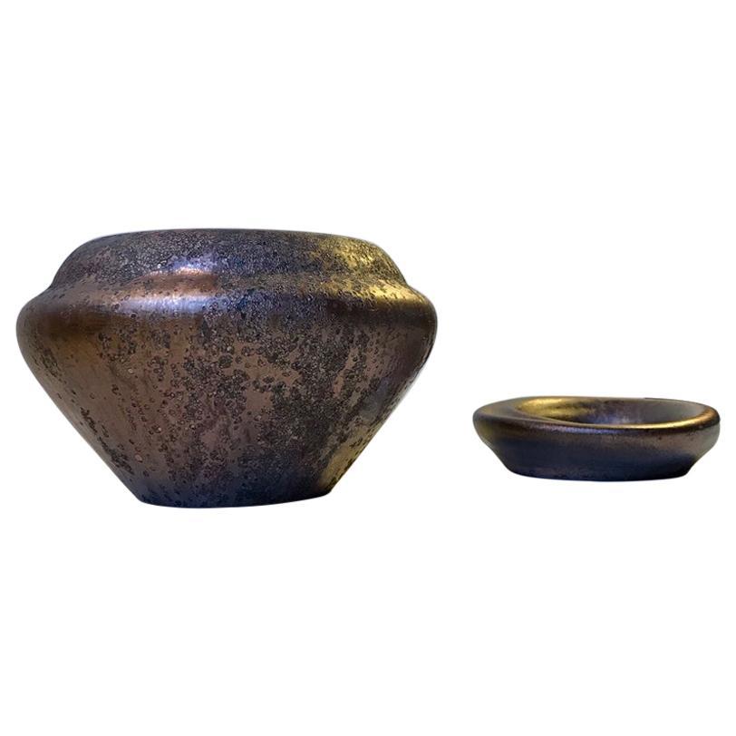 Ceramic Art Deco Vase & Dish in Copper Glaze from Kongstrand, 1930s