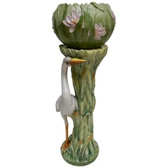 Ceramic Art Nouveau Column and Planter, Italy, Early 20th Century