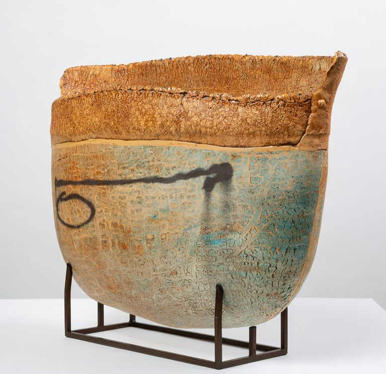 Post-Modern Ceramic Art Vessel with Mount by Jim Kraft For Sale