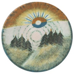 Ceramic Artwork Decorative Plate by Agoston Simo, 1970s