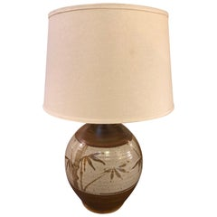 Ceramic Bamboo Table Lamp with Shade