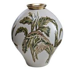 Ceramic Banana Leaf Vase by Ceccarelli