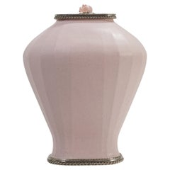 Pink Ceramic Base by Estudio Guerrero Made with Glazed Ceramic and White Metal