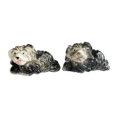Ceramic Black and White Dog Salt and Pepper Shakers, a Pair