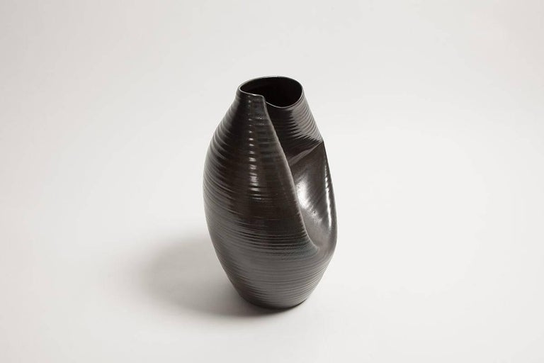 Ceramic Black Collapsed Vase Interior Sculpture Or Vessel Object D
