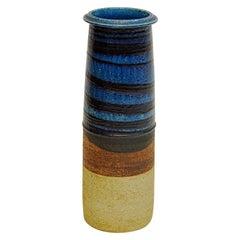Ceramic Blue and Brown Vase by Inger Persson for Rörstrand, Sweden, 1960s