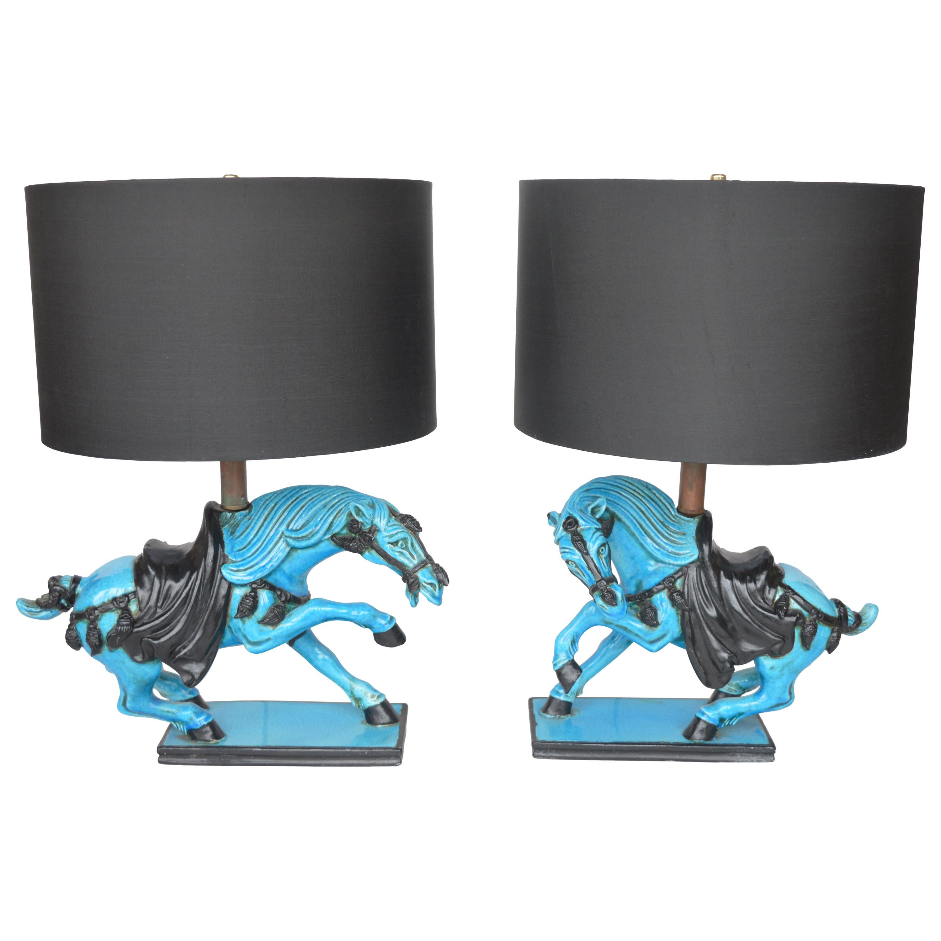 Ceramic Blue Horse Table Lamps