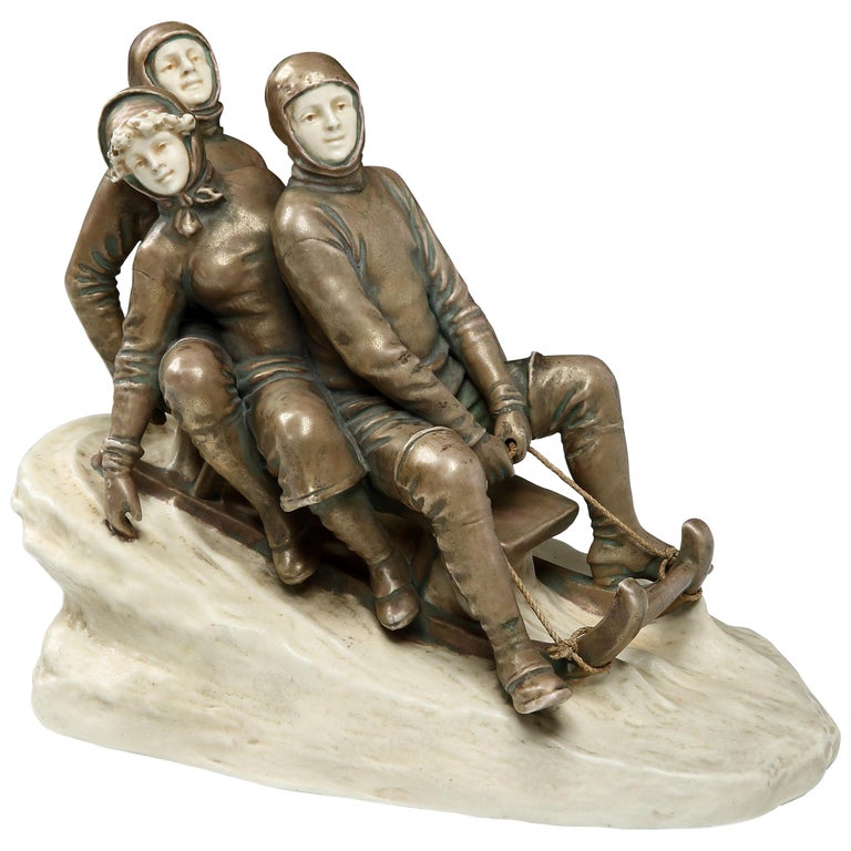 Ceramic Bobsled Group by Bernhard Bloch Studios, 1910 For Sale
