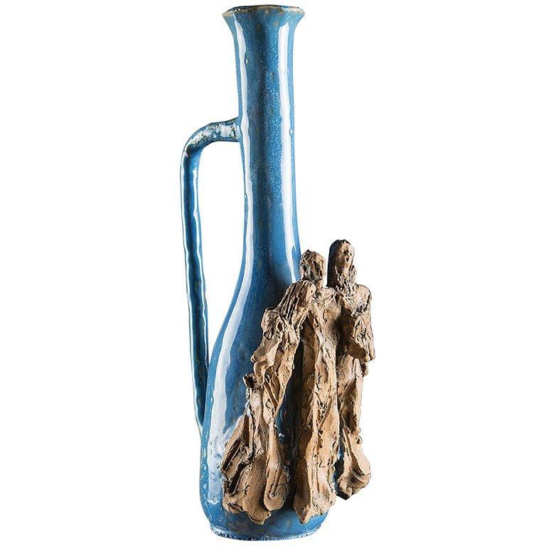 Ceramic Bottle by Renato Bassoli For Sale