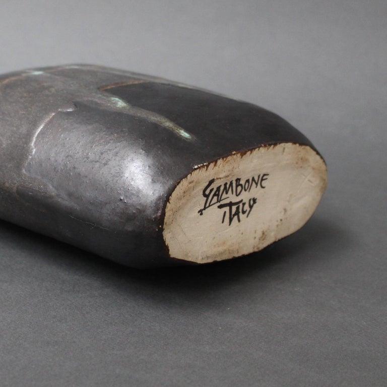 Ceramic Bottle-Shaped Black Decorative Vase by Bruno Gambone, circa 1980s For Sale 6