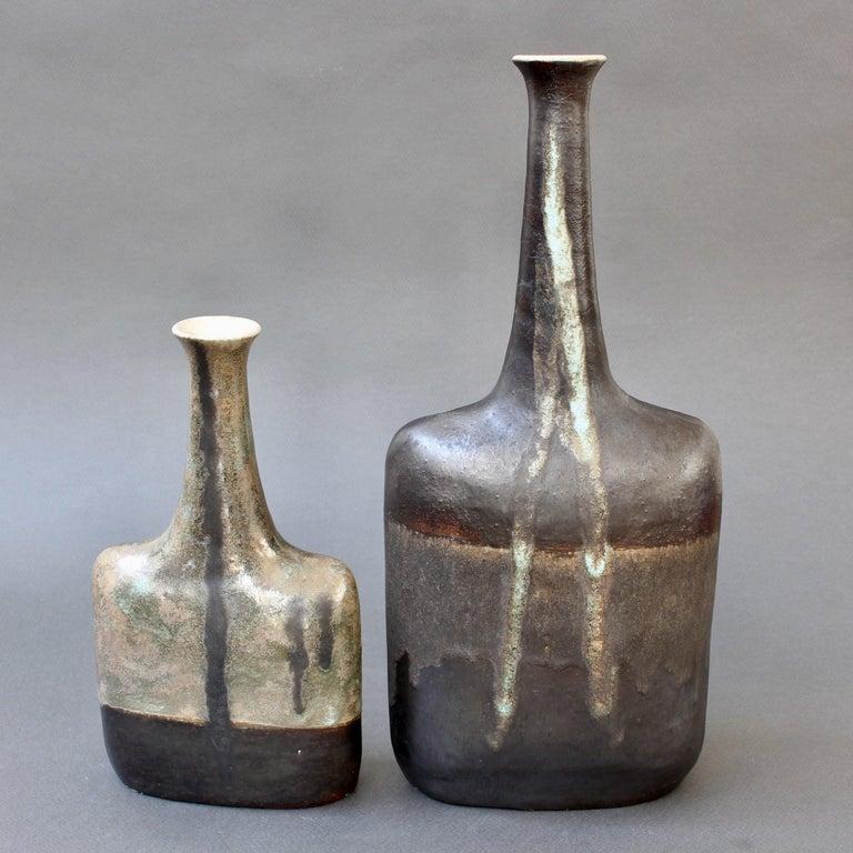 Italian Ceramic Bottle-Shaped Black Decorative Vase by Bruno Gambone, circa 1980s For Sale