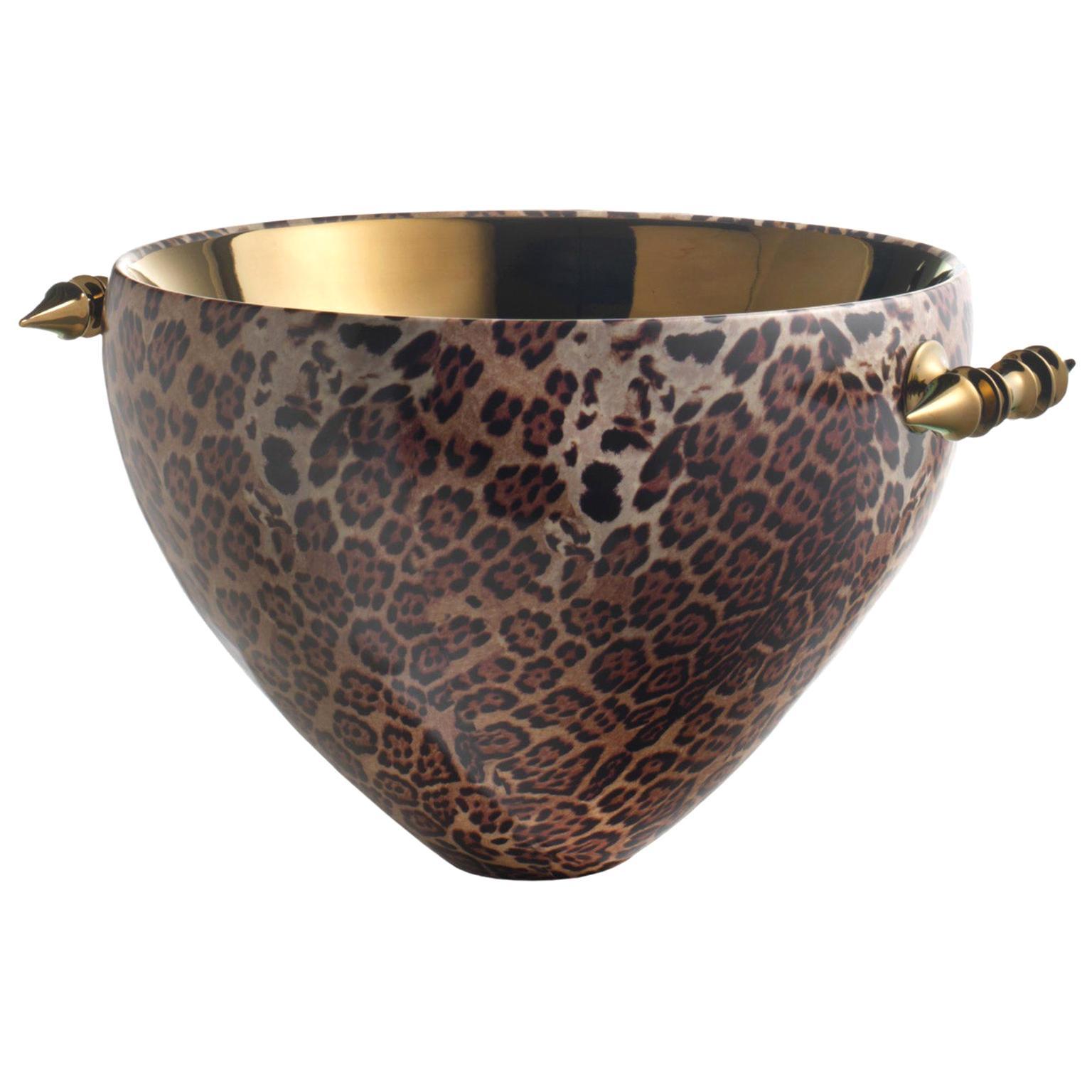 "Ceramic Bowl ""GABRIEL"" Leopard Decorated, Handcrafted in Bronze by Gabriella B."