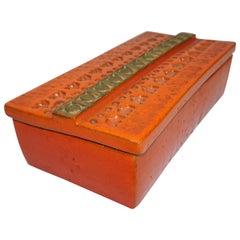 Ceramic Box by Aldo Londi Bitossi, Italy, C 1960, Orange with Gold Decoration