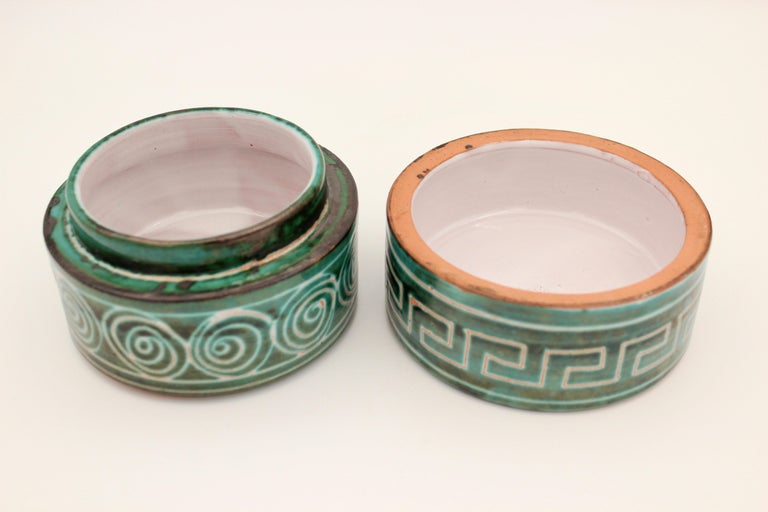 Round ceramic box by Robert Picault, 1950s, France.