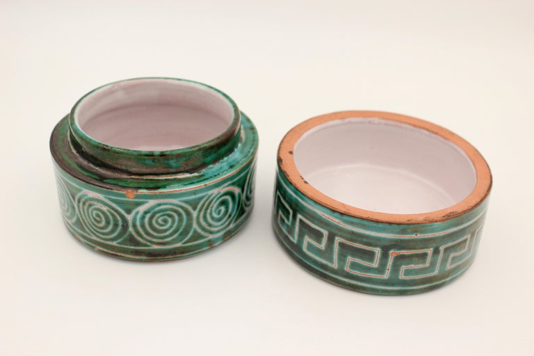 Mid-Century Modern Ceramic box by Robert Picault, 1950s, France For Sale
