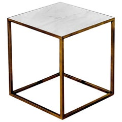 In Stock in Los Angeles, Ceramic / Brass White Square Coffee Table