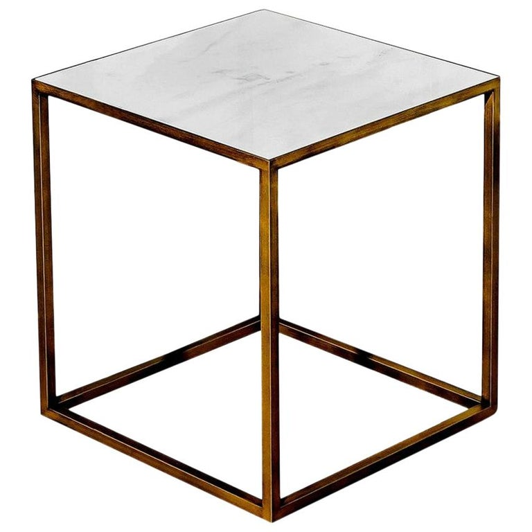 In Stock in Los Angeles, Brass / Ceramic White Square Coffee Table For Sale