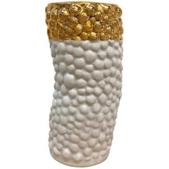 Ceramic Bumpy Vase with 22 Karat Gold Luster by Isabel Halley