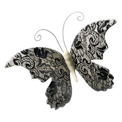 "Ceramic ""BUTTERFLY"" with Lace Decoration by Gabriella B. Made in Italy"