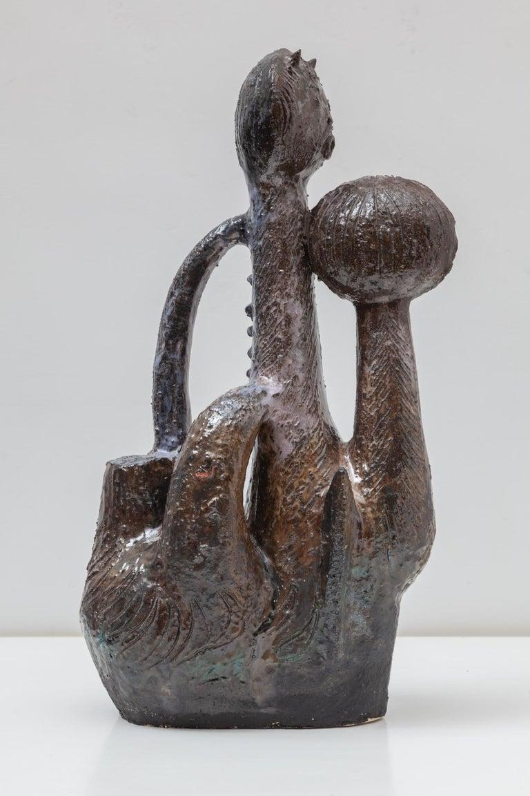 Mid-20th Century Ceramic Cat Sculpture Designed by Jhan Paulussen, 1960s, Belgium For Sale