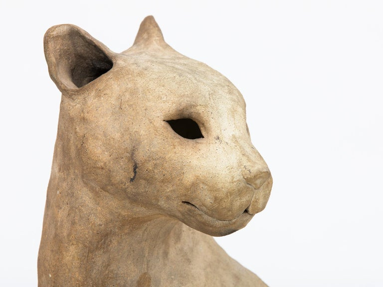 Large and amazing ceramic big cat sculpture from the 1940s. Original owners purchased in Paris.