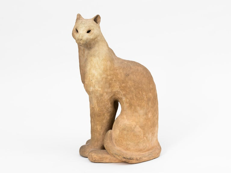 French Ceramic Cat Sculpture For Sale