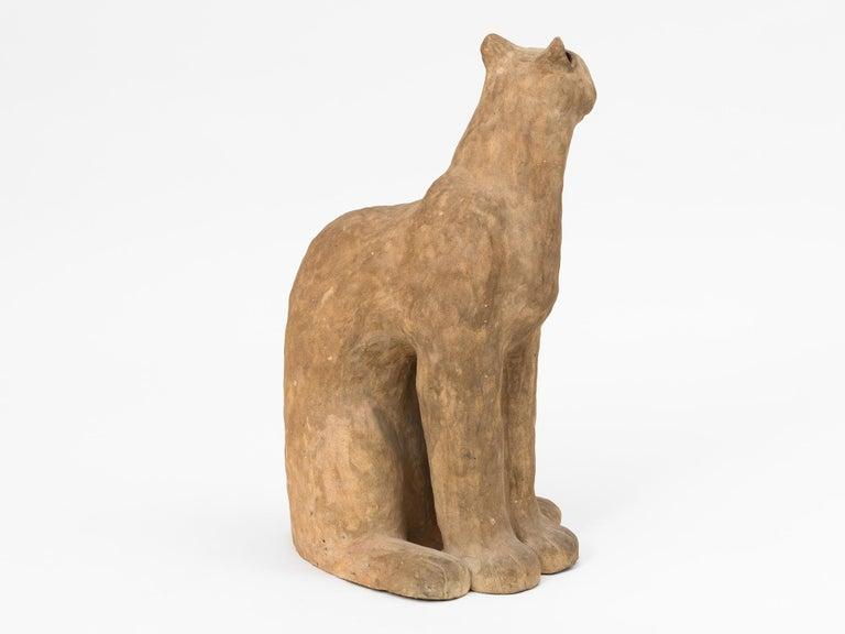 Mid-20th Century Ceramic Cat Sculpture For Sale