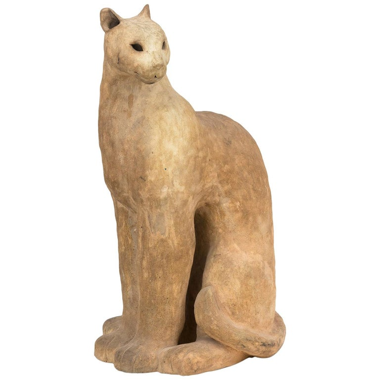 Ceramic Cat Sculpture For Sale