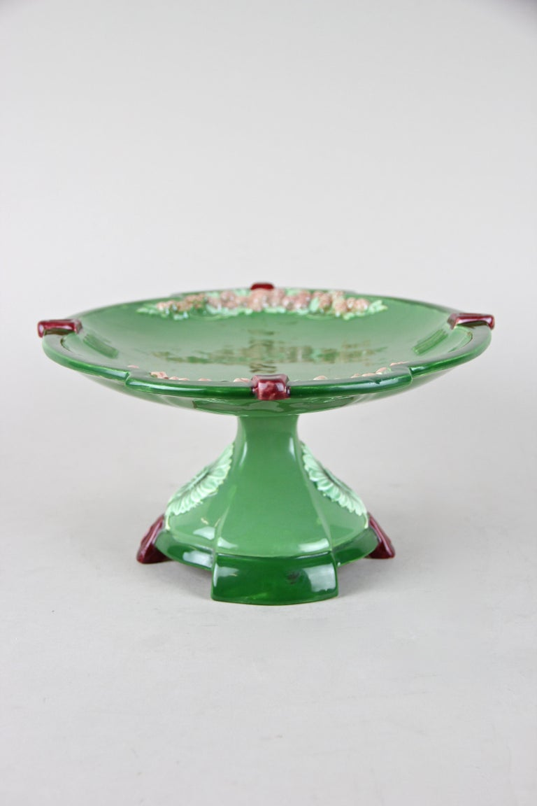 Hand-Painted Ceramic Centerpiece by Eichwald, Bohemia circa 1910 For Sale