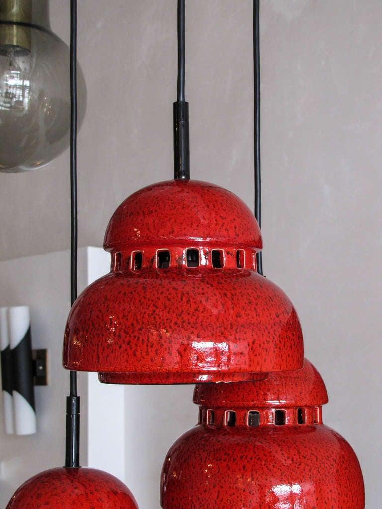 Glazed Ceramic Chandelier by Kaiser Leuchten For Sale