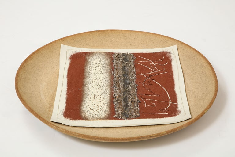 Abstract multi-color ceramic charger, Signed Bruno Gambone For Sale 1