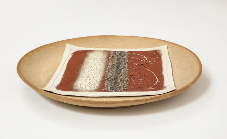Abstract multi-color ceramic charger, Signed Bruno Gambone For Sale 2
